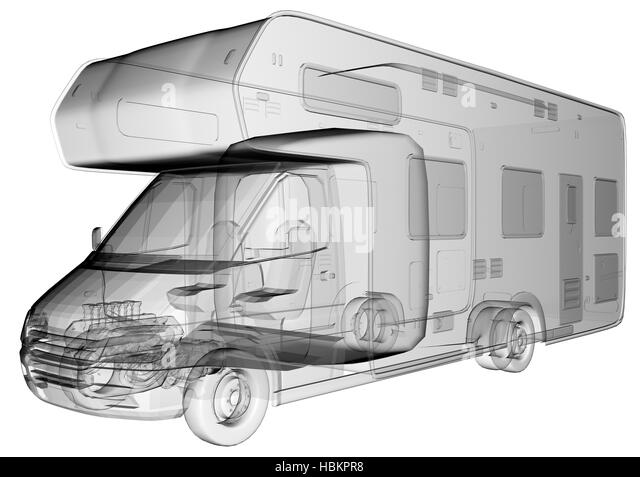 Transparent Camper Van Isolated