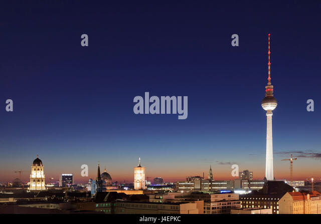 Berlin Mitte with Berliner Fernsehturm TV Tower and Rotes Rathaus (Red Town Hall), Berlin, Germany, Europe - Stock Image