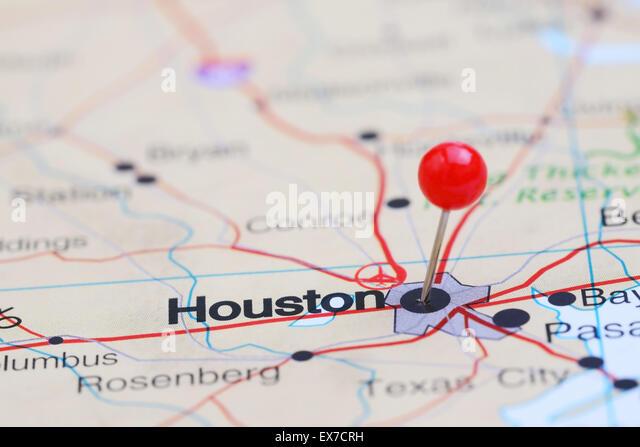 Close Up Houston Usa Map Stock Photos Close Up Houston Usa Map - Houston us map
