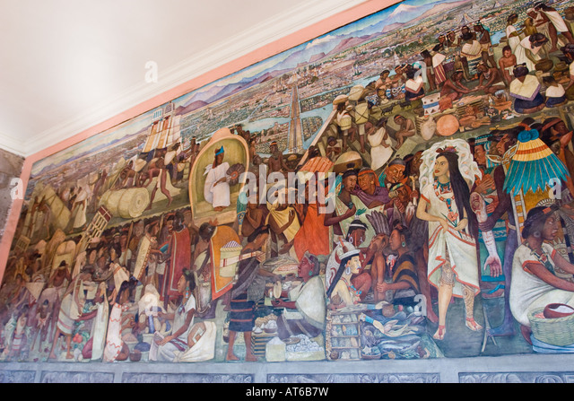 Mexican artist diego rivera mural stock photos mexican for Diego rivera tenochtitlan mural
