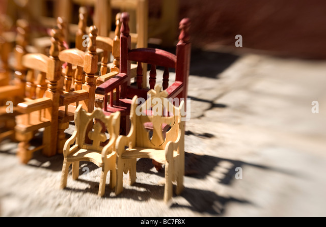 Miniature Wooden Chairs Made In Mexico   Stock Image