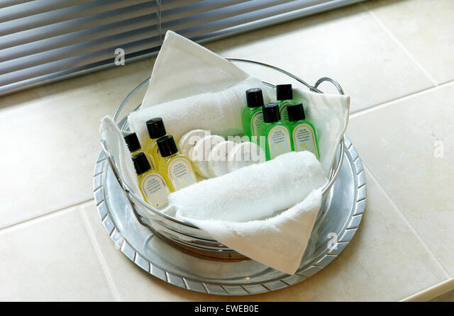 Selection Of Toiletries In Hotel Bathroom   Stock Image