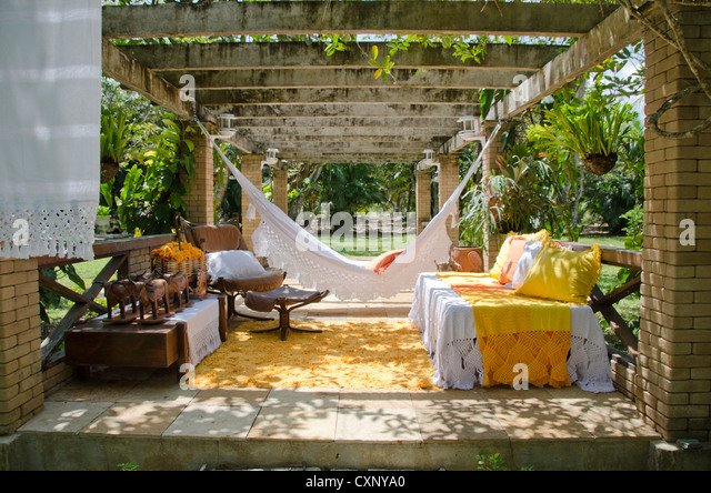 Gazebo In A Garden   Summer House With Furniture And Hammocks   Stock Image
