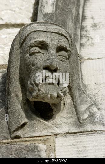 Church carved head carving stock photos