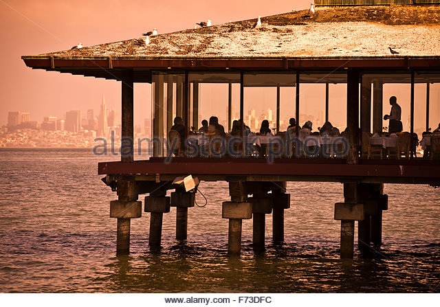 A Restaurant Overhanging The Water In Sausalito, California.   Stock Image