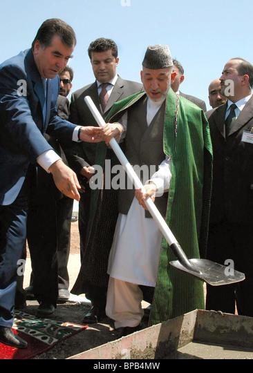 afghanistan president hamid karzai on a working visit to tajikistan stock image