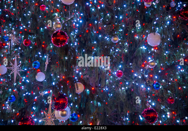 Christmas Tree With Blue Lights Detail   Stock Image