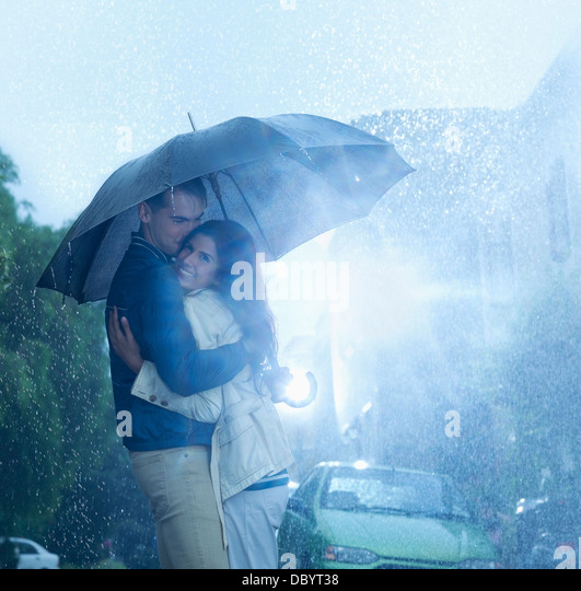 Couple Under Umbrella Night Wet Stock Photos & Couple