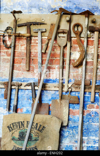 Old Gardening Tools On Display At Calke Abbey, Derbyshire, England.   Stock  Image