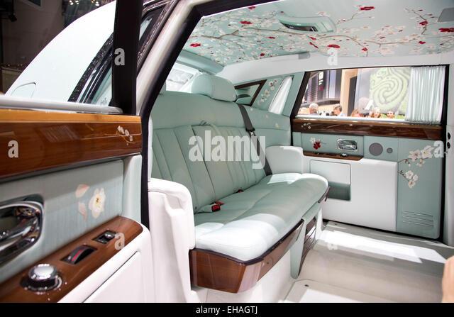 rolls royce phantom interior 2015. rolls royce phantom serenity interior at the geneva motor show 2015 stock image