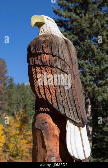 Carved american eagle stock photos