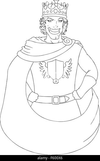Vector Illustration Coloring Page Of A Young King Wearing Crown And Smiling