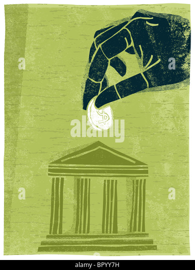 Illustration of a hand putting money into a bank stock image