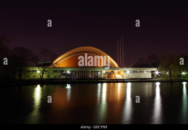 House of the culture of the world in berlin at nig stock image