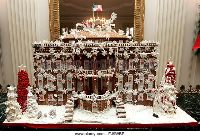 The gingerbread white house on display during a tour of the christmas