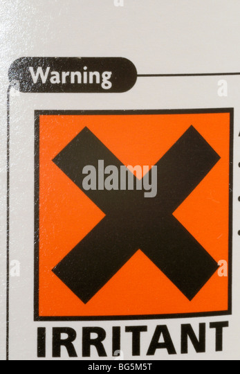Chemical warning label stock photos chemical warning label stock hazardous chemical label on household bleach stock image urtaz Gallery