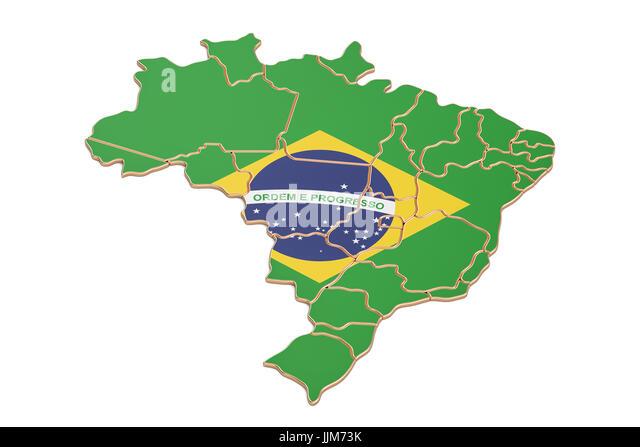 D Map Illustration Brazil Flag Stock Photos D Map Illustration - Brazil map illustration