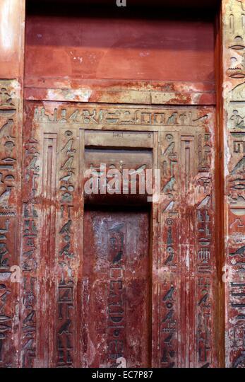 Limestone False Door And Architrave Of Ptahshepses   Stock Image
