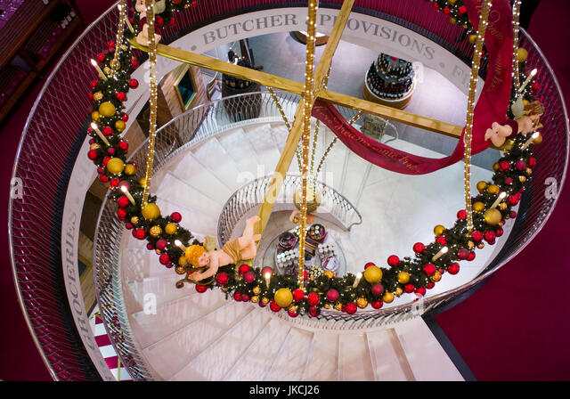 Staircase interior christmas stock photos staircase - Fortnum and mason christmas decorations ...