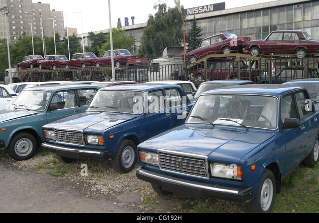 Exceptionnel Sale Of Russian Made Lada Cars Made By Avtovaz Car Maker.   Stock Image