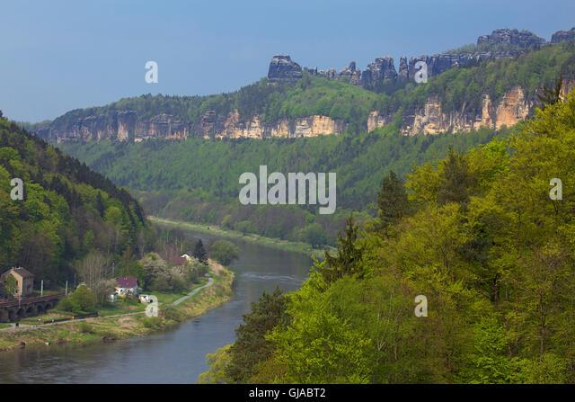 Schmilka, View, Elbe (river), Schrammsteine, U0027Postelwitzer Steinbrücheu0027,