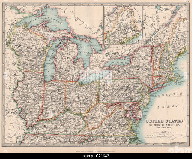 North Eastern United States Great Lakes Midwest Usa Johnston 1912 Old