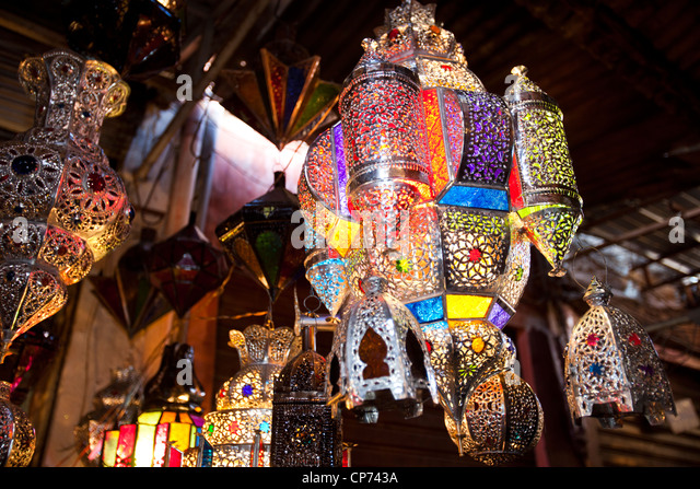 traditional moroccan lamps in a souk in marrakech morocco stock image
