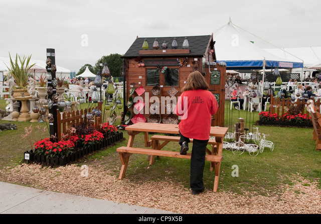 RHS Flower Show  Tatton Park  Cheshire  A trade stand promoting garden  furniture and. Trade Stand Stock Photos   Trade Stand Stock Images   Alamy