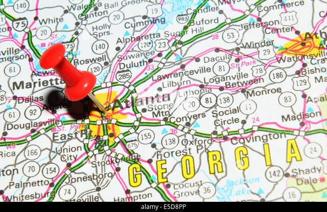 atlanta on us map stock image