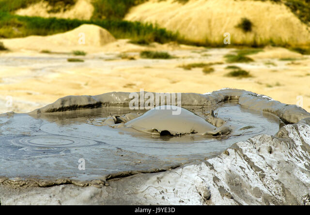 Bubbling mud volcano in Berca, Romania - Stock Image