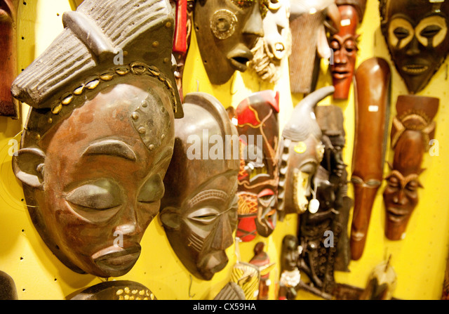 wooden carved masks for sale stone town zanzibar africa stock image