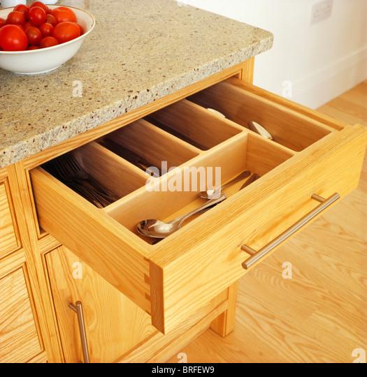 Kitchen drawer open details stock photos kitchen drawer for Fitted kitchen drawer unit