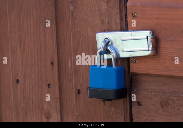 A plastic-coated padlock on a shed door. Padlocks are useful to deter casual & Padlocks On Door Stock Photos u0026 Padlocks On Door Stock Images - Alamy pezcame.com
