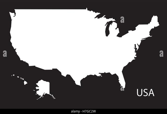Usa Map Stock Vector Images Alamy - Usa map black