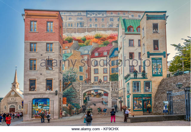 Wall Mural, Notre Dame Street, Quebec City, Canada   Stock Image