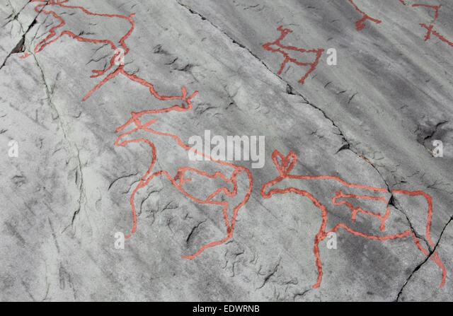 Norway rock carvings stock photos
