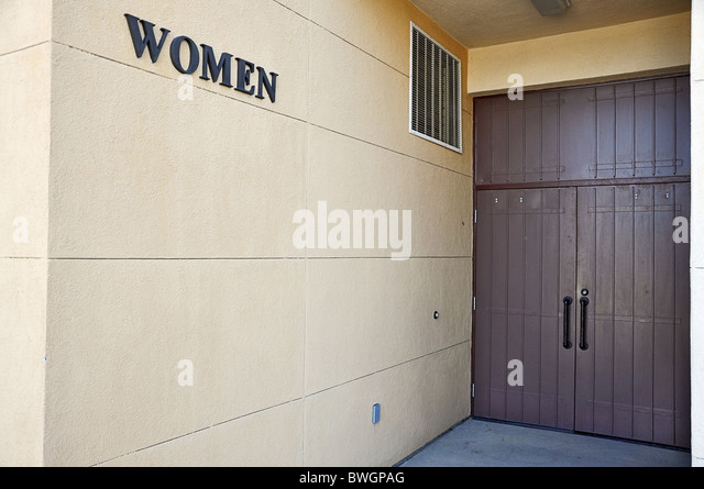 Outside Of Womens Public Restroom Showing Sign And Doors