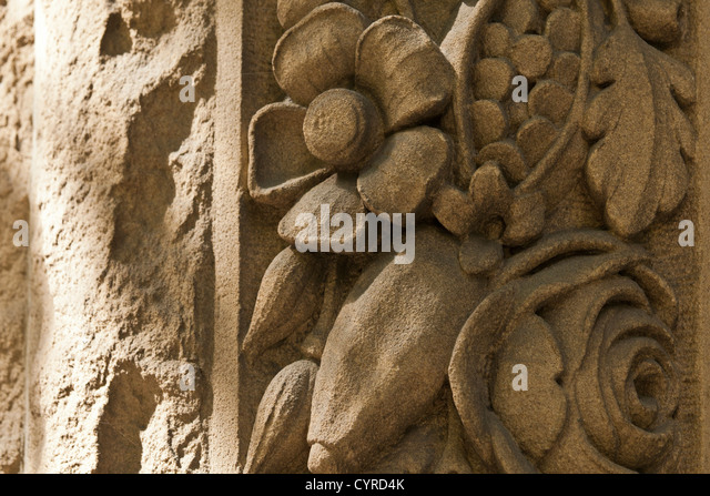 Flowers stone carving stock photos