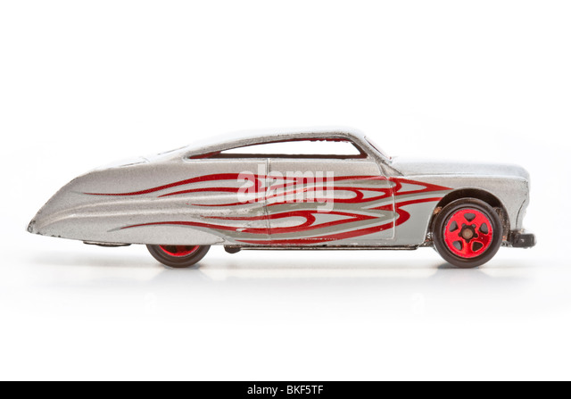 toy silver car with flames down the side stock image