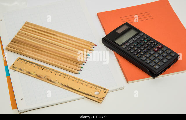 The Concept Of Learning Shown With A Calculator Pencils On A Stock