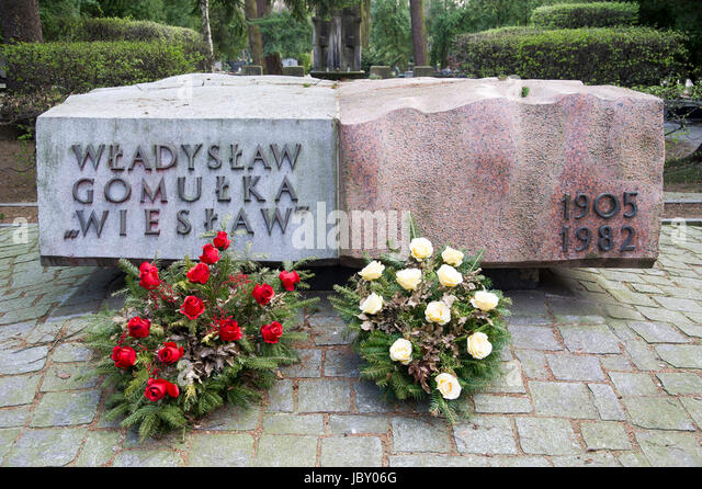 Tomb of Wladyslaw Gomulka, Polish Communist and leader of People`s Republic of Poland. Powazki Military Cemetery - Stock Image