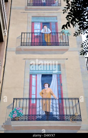 Trompe l 39 oeil mural stock photos trompe l 39 oeil mural - Placa barcelona sant cugat ...