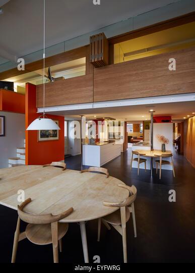 Mezzanine Area double height living room mezzanine stock photos & double height