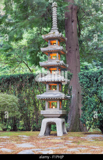 Tall Pagoda Stone Lantern At Japanese Garden   Stock Image
