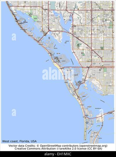West Coast Usa Map Stock Photos West Coast Usa Map Stock Images - West coast florida map