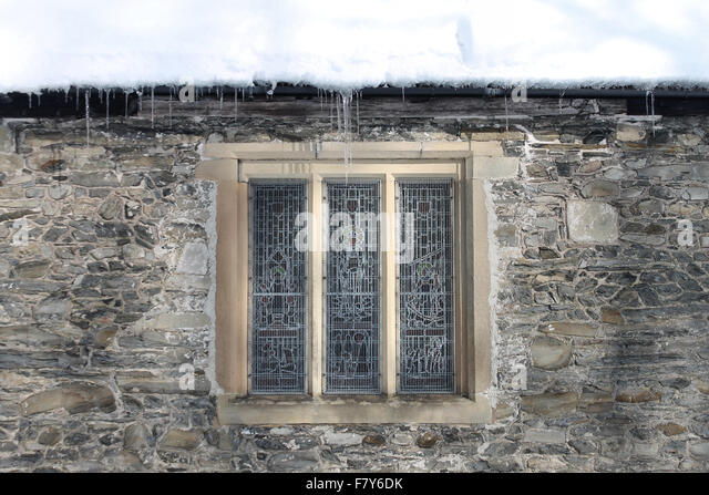 Icicles And Snow On Llantysilio Church In Llangollen Winter