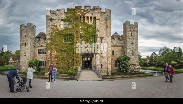 Hever Castle, England -  April 2017 : Tourists in front of the Hever Castle  located in the village of Hever, Kent, - Stock Image