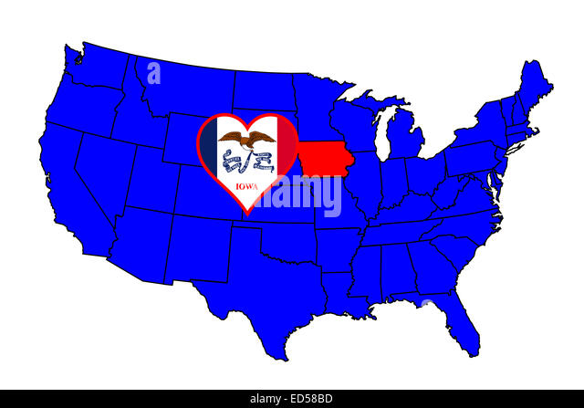 Iowa State Map Stock Photos Iowa State Map Stock Images Alamy - Iowa state on a us map