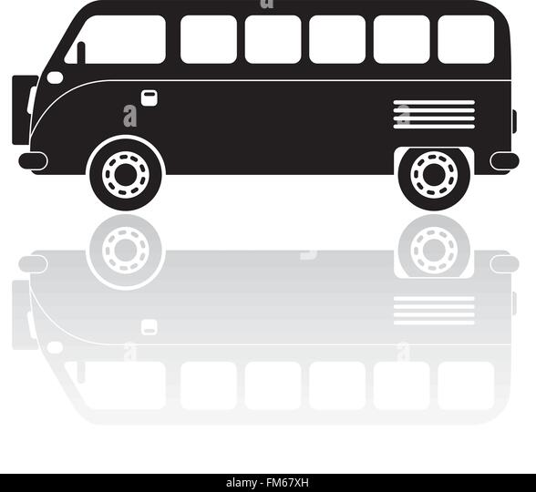 Vintage Camper Van Silhouette With Reflection
