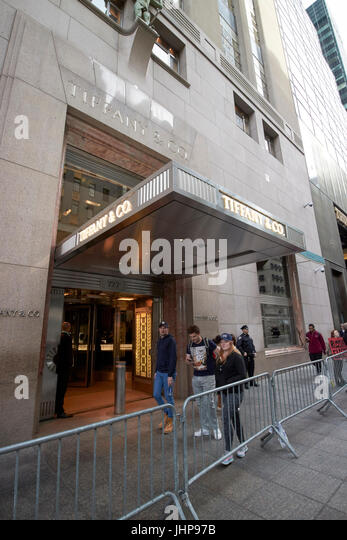 tiffany & co fifth avenue with barriers outside due to proximity to trump tower New York City USA - Stock Image